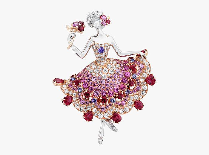 Брошь-балерина Van Cleef & Arpels с бриллиантами, рубинами и разноцветными сапфирами