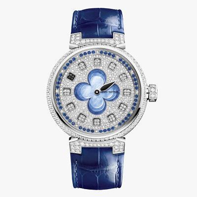 Часы Tambour Spin Time с синим ремешком