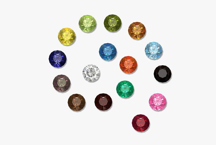 Разноцветные фианиты.
