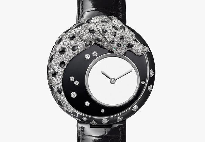 Часы Panthère Mystérieuse от Cartier с бриллиантами и черным лаком