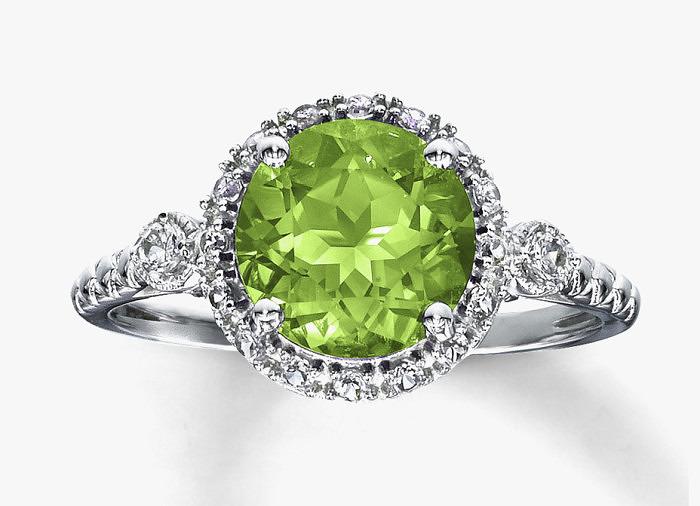 Кольцо с бриллиантами и хризолитом. Фото: jared.com