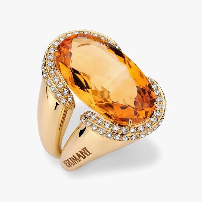 Кольцо Brumani из желтого золота с цитрином