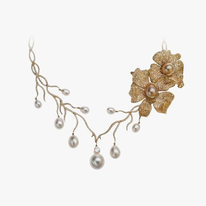 Жемчужное колье Autore с цветком из коллекции Orchid