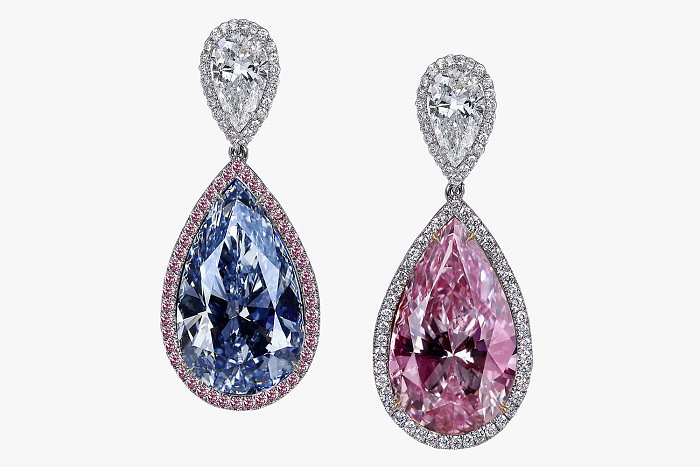 Серьги Jacob & Co. С голубым и розовым грушевидными бриллиантами