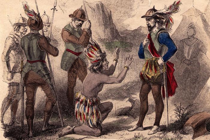 Атауальпа и Франциско Писсаро. Рисунок. Hulton Archive