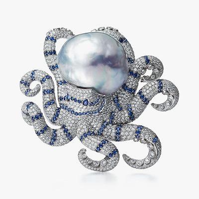 Брошь-осьминог с жемчугом, сапфирами и бриллиантами