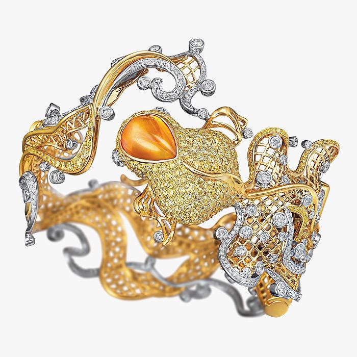 Браслет с оранжевым сапфиром от Larry Jewelry