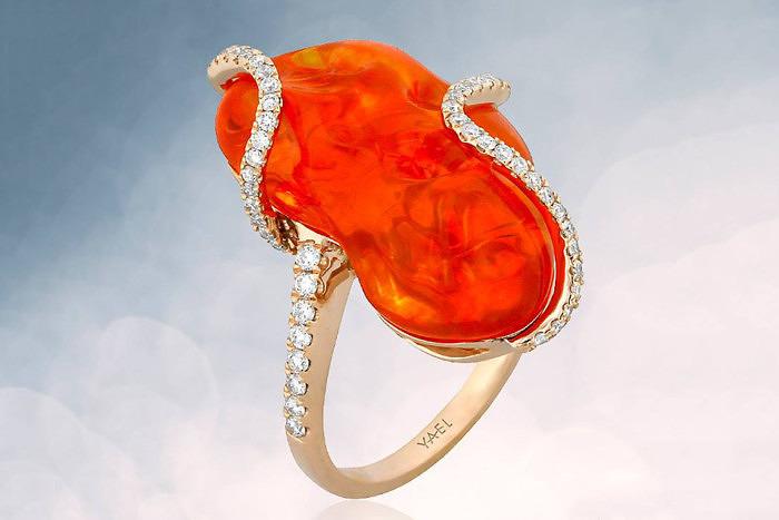 Кольцо Yael Designs с огненным опалом и бриллиантами