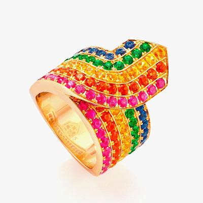 Кольцо Robinson Pelham с цветными сапфирами и цаворитами