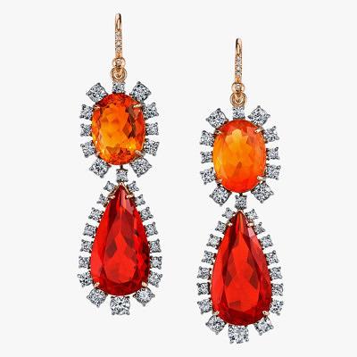 Серьги Irene Neuwirth с огненными опалами разной формы и бриллиантами