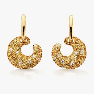 Серьги Robinson Pelham из желтого золота с бриллиантами и желтыми сапфирами