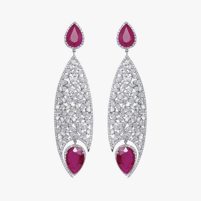 Серьги с рубиновыми каплями от Bapalal Keshavlal