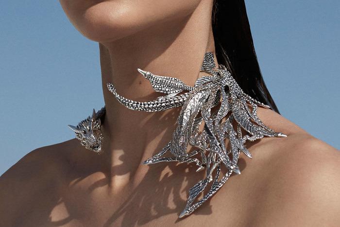 Серебряное колье-дракон, $2730