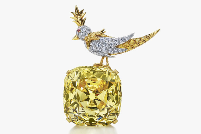 Брошь Bird on Rock с желтым бриллиантом Tiffany Diamond, созданная Жаном Шлюмберже