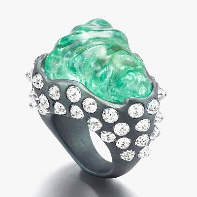 Титановое кольцо Suzanne Syz с 55-каратным турмалином параиба и бриллиантами