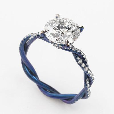 Помолвочное титановое кольцо Glenn Spiro с бриллиантом