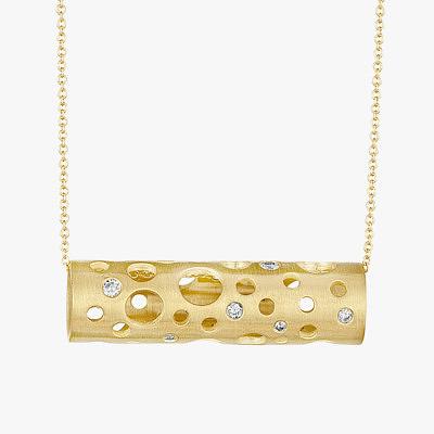 Элегантный в своей простоте кулон от Dana Bronfman в форме вытянутого цилиндра из желтого золота с круглыми сквозными отверстиями и маленькими бриллиантами можно носить как горизонтально, так и вертикально