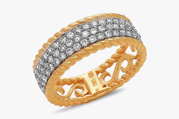 «Плетеное» кольцо Dilamani из 18-каратного желтого золота с тремя рядами сверкающих бриллиантов
