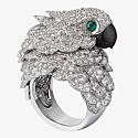 Кольцо Cartier с попугаем из белого золота с бриллиантами