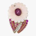 Брошь-цветок со звездчатым рубином
