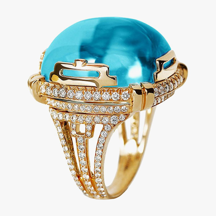 Кольцо Goshwara с крупным голубым топазом