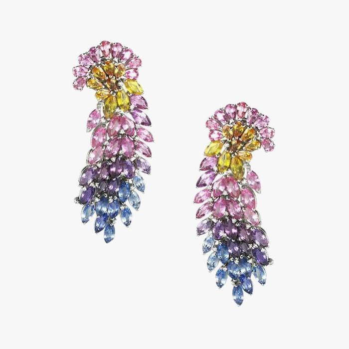 Серьги с разноцветными сапфирами от Mirari