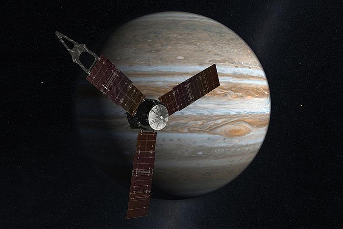 Аппарат Юнона на фоне Юпитера (иллютстрация). Источник: NASA