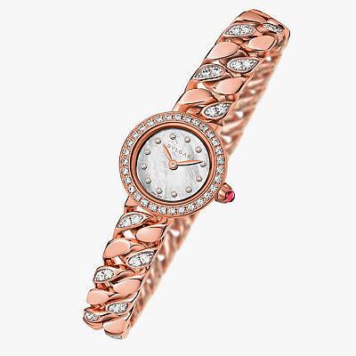Часы из розового золота с перламутровым циферблатом и частично инкрустированными бриллиантами звеньями браслета