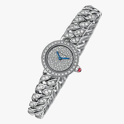 Часы из белого золота с бриллиантовым циферблатом и инкрустированными бриллиантами звеньями браслета