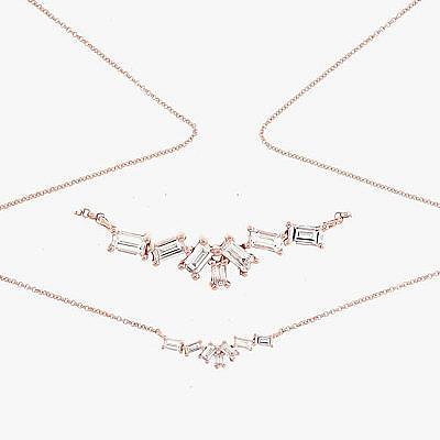 Изящные колье и браслет из розового золота от Borgioni, инкрустированные бриллиантами огранки «багет»
