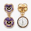 Брошь-карманные часы: золото и ювелирная эмаль