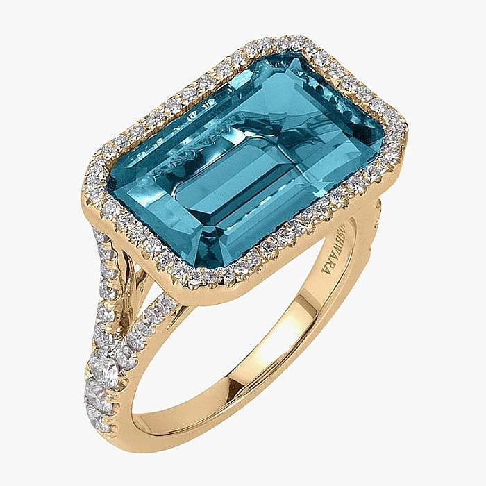 Кольцо с голубым топазом от Goshwara