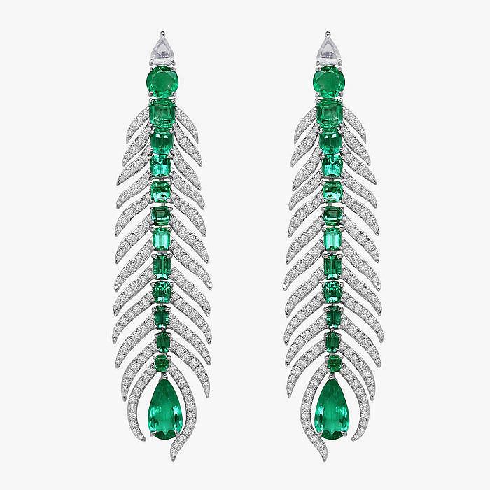 Серьги-перья с изумрудами и бриллиантами от Sutra