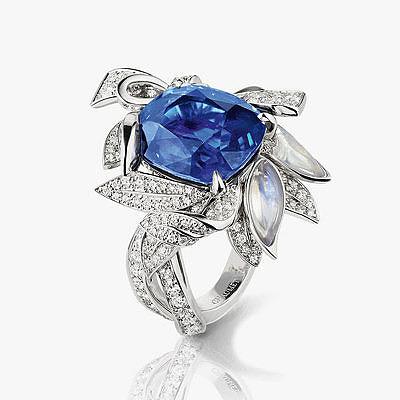 Кольцо с 10-каратным сапфиром, лунными камнями и бриллиантами