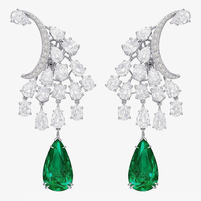 Серьги Sutra с бриллиантами и изумрудными каплями