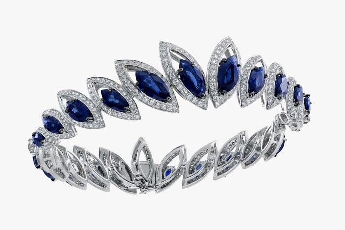 Браслет Petali D' Amore от Niquesa с сапфирами огранки «Маркиз» и бриллиантами