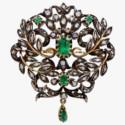 Брошь с изумрудами и бриллиантами начала XIX века