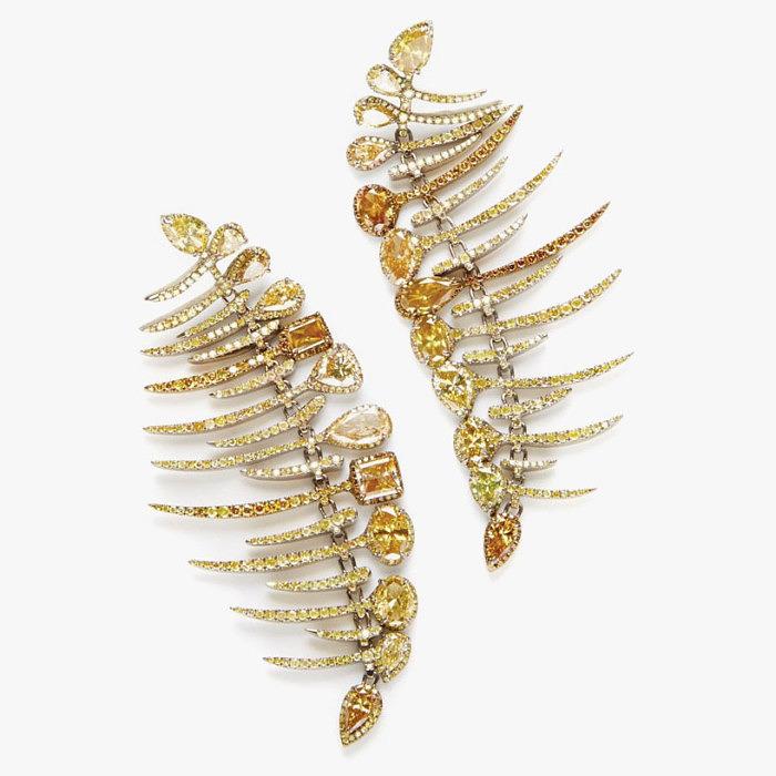 Золотые серьги с цветными бриллиантами от GlennSpiro