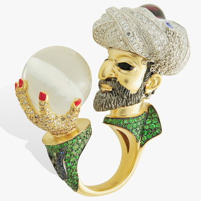 Кольцо Lydia Courteille с султаном Сулейманом, держащим в руке волшебный шар из горного хрусталя