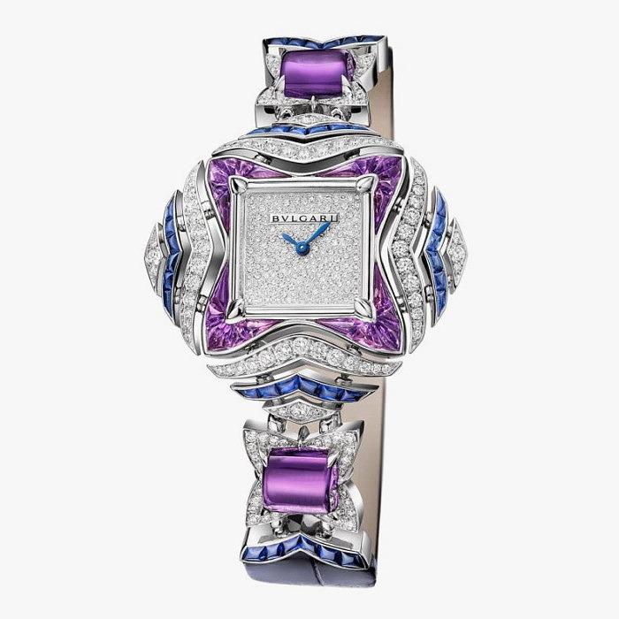 Часы от Bulgari c бриллиантами, сапфирами и аметистами