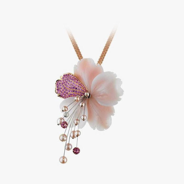 Подвеска-цветок из опала, с сапфирами, жемчугом и бриллиантами от Rodney Rayner