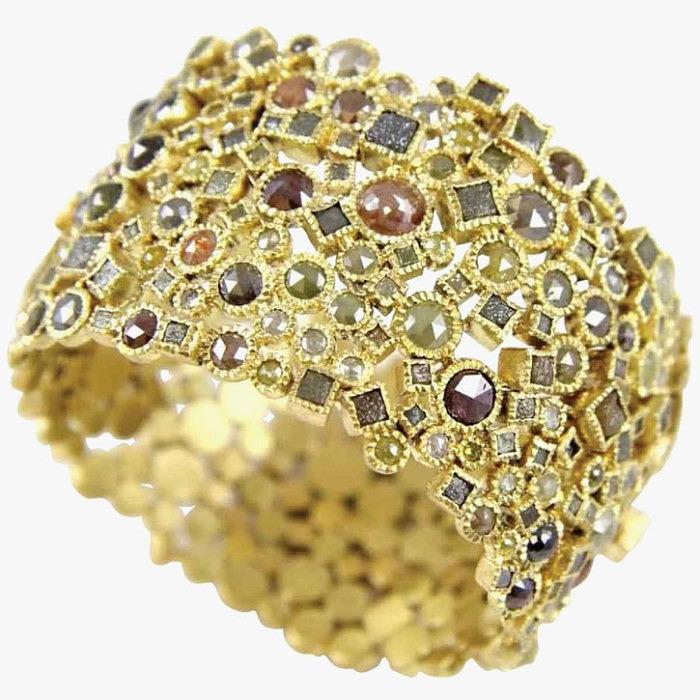 Браслет с бриллиантами и неограненными алмазами от Todd Reed