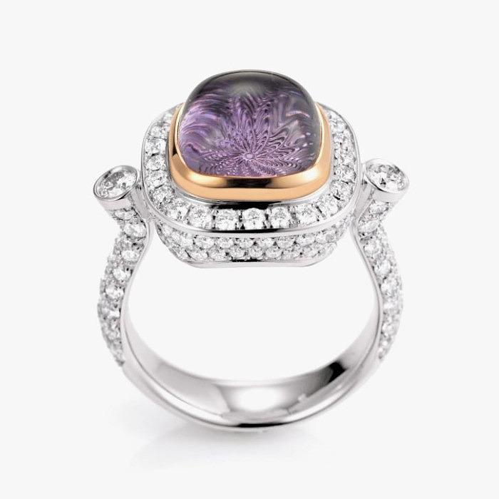 Кольцо с бриллиантами и аметистом от Victor Mayer