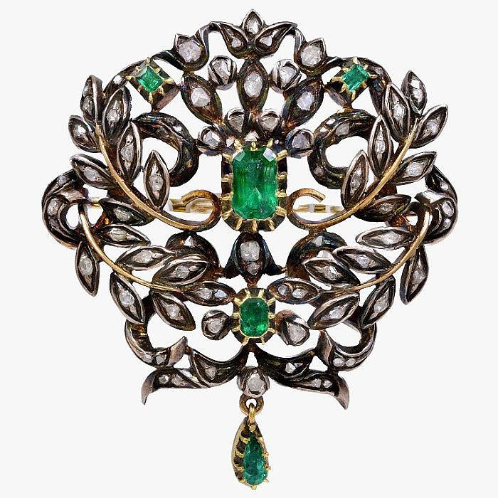 Брошь c бриллиантами и изумрудами, 1800-е годы