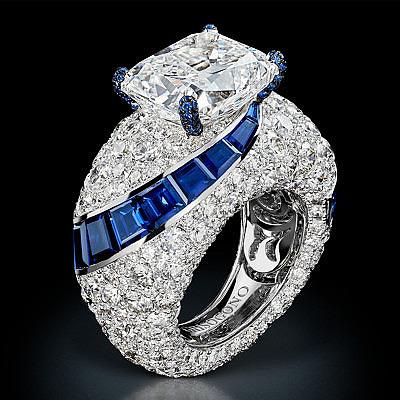 Кольцо Folies от de Grisogono с бриллиантами и сапфирами