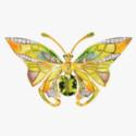 Брошь-бабочка c перидотами, эмалью и бриллиантами от Masriera
