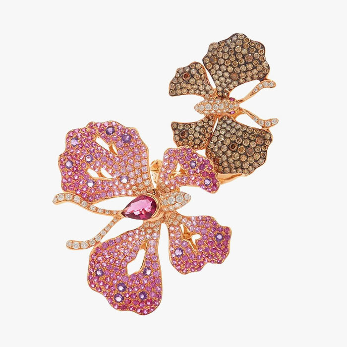 Кольцо от Wendy Yue с аметистами и рубеллитами