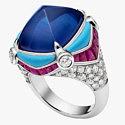 Кольцо с сапфиром, бирюзой, бриллиантами и рубинами от Bulgari