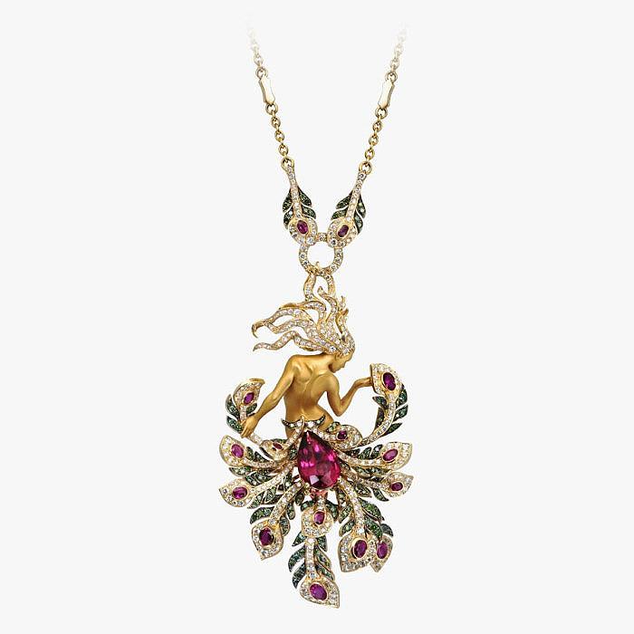 Колье с бриллиантами, рубинами и рубеллитом от Magerit