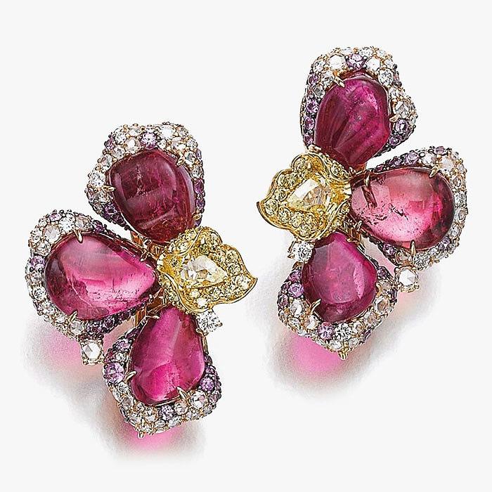 Клипсы с турмалинами и бриллиантами от Michele della Valle
